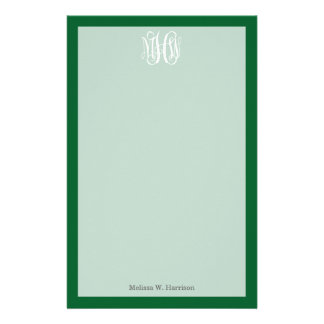 Forest Green White 3 Initials Vine Script Monogram Personalized Stationery