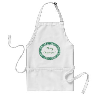 Forest Green White Christmas Wreath to Customise Standard Apron