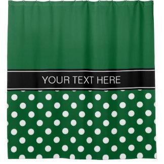 Forest Green White LG Dot Black CB Name Monogram Shower Curtain