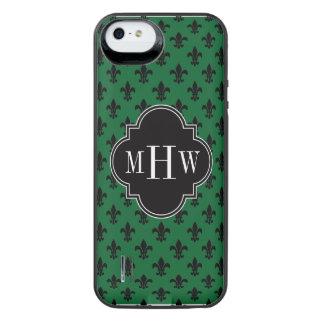 Forest Grn Blk Fleur de Lis Black 3 Init Monogram iPhone SE/5/5s Battery Case
