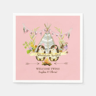 Forest Hedgehogs Twin Girls Boho Baby Shower Pink Paper Napkin