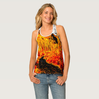 Forest in fire red singlet