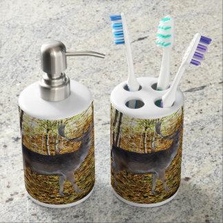 Forest inhabitant soap dispenser and toothbrush holder