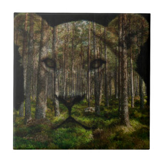 Forest inside a tiger ceramic tile