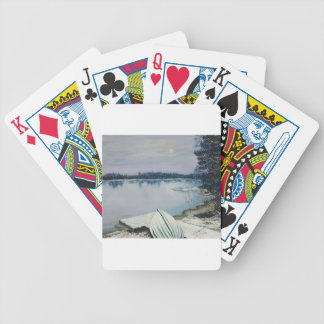 Forest lake bicycle playing cards