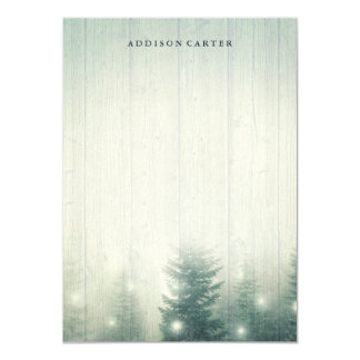 Forest Lights | Rustic Personalized Stationery Card