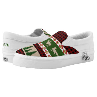 Forest Lodge Rustic Woodland Holiday Monogram Slip-On Shoes
