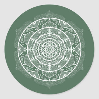 Forest Mandala Classic Round Sticker