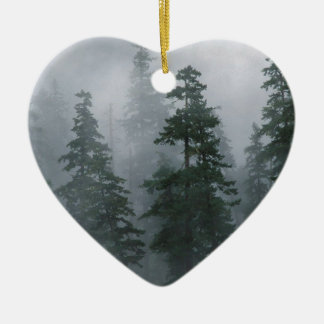 Forest Mist Clearing Storm Mount Hood Christmas Ornaments
