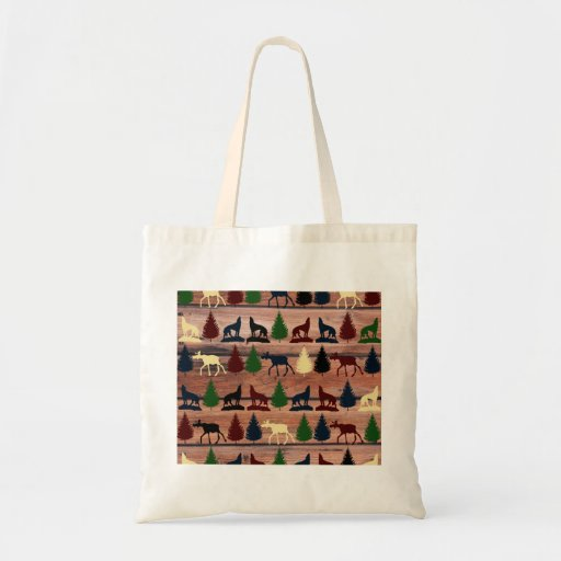 Forest Moose Wolf Wilderness Mountain Cabin Rustic Canvas Bag