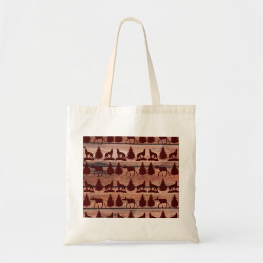 Forest Moose Wolf Wilderness Mountain Cabin Rustic Bags