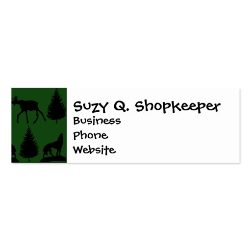 Forest Moose Wolf Wilderness Mountain Cabin Rustic Business Card Template