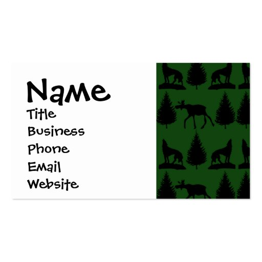 Forest Moose Wolf Wilderness Mountain Cabin Rustic Business Cards