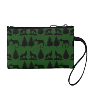 Forest Moose Wolf Wilderness Mountain Cabin Rustic Coin Wallet