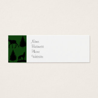 Forest Moose Wolf Wilderness Mountain Cabin Rustic Mini Business Card