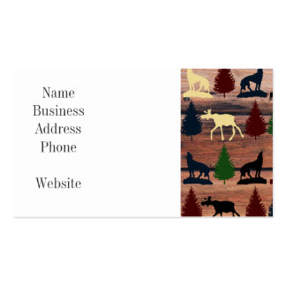 Forest Moose Wolf Wilderness Mountain Cabin Rustic Pack Of Standard Business Cards