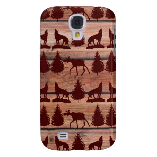 Forest Moose Wolf Wilderness Mountain Cabin Rustic Samsung Galaxy S4 Covers