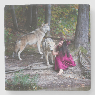 Forest Nymph with her pack Stone Coaster