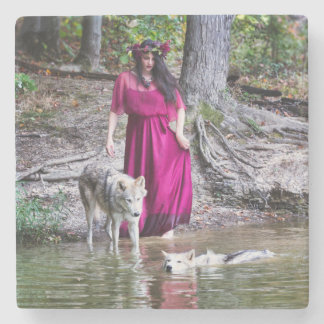 Forest Nymph with her wolves Stone Beverage Coaster