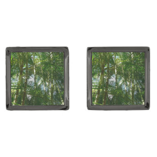 Forest of Palm Trees Tropical Green Gunmetal Finish Cufflinks