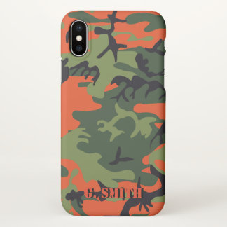 Forest Orange and Green Camouflage. Camo your iPhone X Case