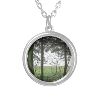 Forest overlooking clearing in the fog silver plated necklace