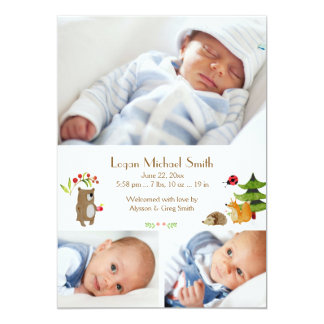Forest Pals Photo Birth Announcement
