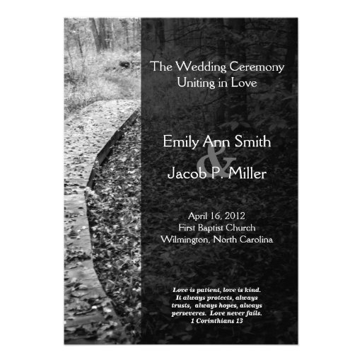 Forest Path Wedding Program Personalized Invitations