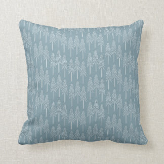 Forest Pine Trees Cushion - Soft Blue