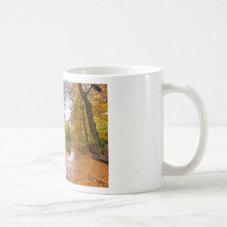 Forest pond covered with leaves in winter season coffee mug