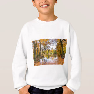 Forest pond covered with leaves in winter season sweatshirt