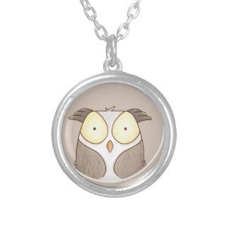 Forest portrait owl silver plated necklace