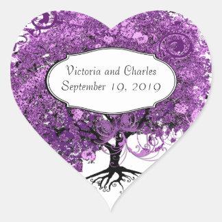Forest Purple Heart Leaf Tree Wedding Heart Sticker
