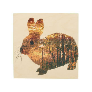 Forest Rabbit Wood Print
