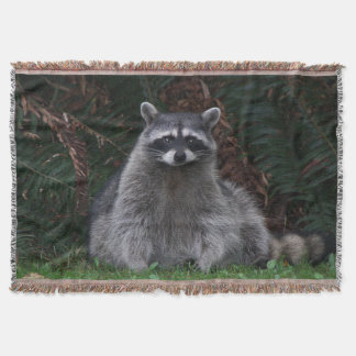 Forest Raccoon Photo Throw Blanket