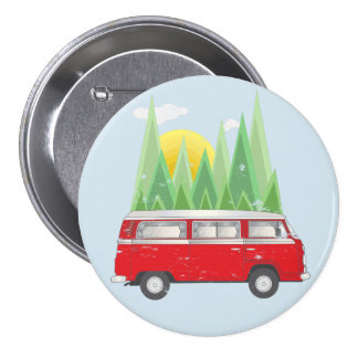 Forest retro Van 7.5 Cm Round Badge