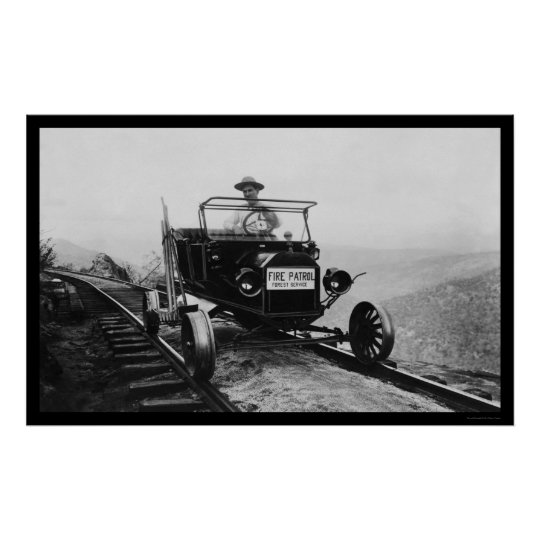 Forest Service Worker in His Patrol Vehicle 1920 Poster