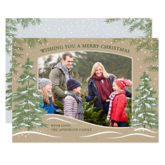 Forest Snowfall Christmas Card Kraft