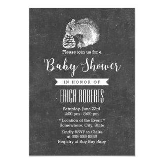 Forest Squirrel & Pine Corn Chalkboard Baby Shower 13 Cm X 18 Cm Invitation Card