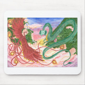Forest Sunset Dragon and Phoenix Mouse Pad