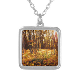 Forest Sunset in the fall Maple Bush Silver Plated Necklace