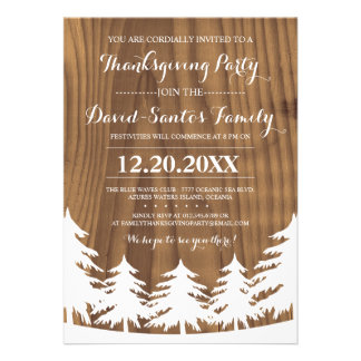 Forest Thanksgiving Party Invites