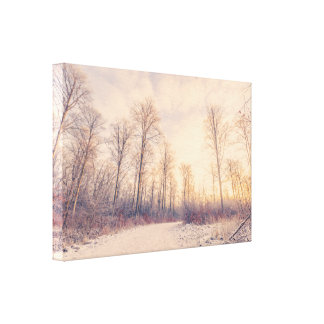 Forest trail with snow in the wintertime canvas print