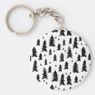 Forest Trees / Black White Minimal / Andrea Lauren Basic Round Button Key Ring