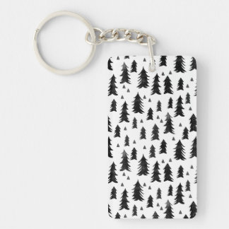 Forest Trees / Black White Minimal / Andrea Lauren Double-Sided Rectangular Acrylic Key Ring