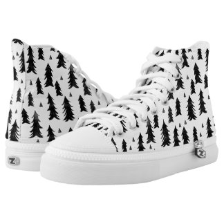 Forest Trees / Black White Minimal / Andrea Lauren Printed Shoes