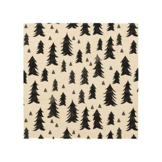 Forest Trees / Black White Minimal / Andrea Lauren Wood Canvas