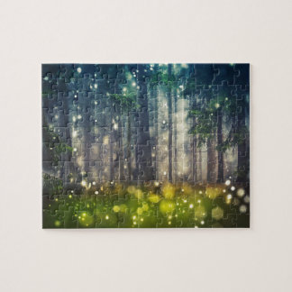 Forest, trees on clearing, dawn jigsaw puzzle
