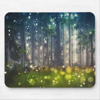 Forest, trees on clearing, dawn mouse pad
