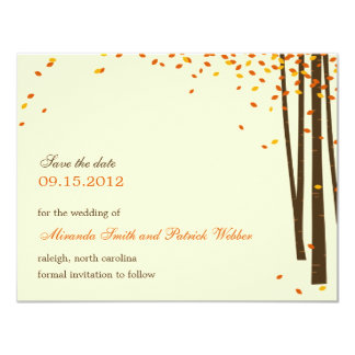 Forest Trees Save The Date Announcement - Orange -